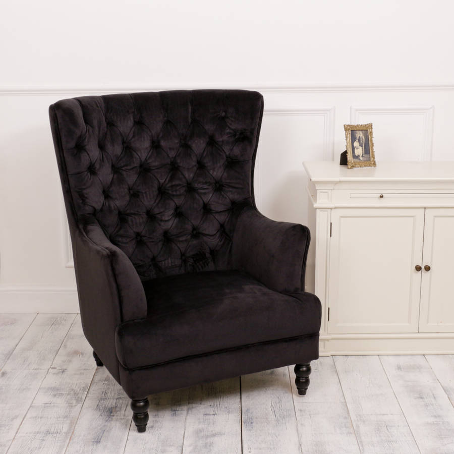 Black Velvet Button Wing Chair