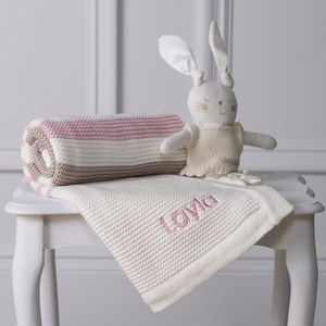 Personalised Organic Blanket And Ballerina Bunny Toy