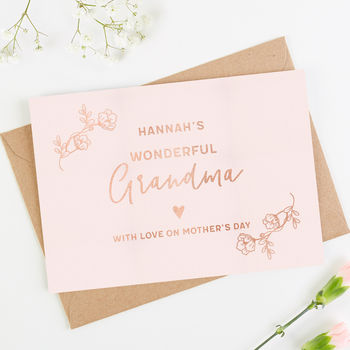 Grandma Mother's Day Card Rose Gold Foil
