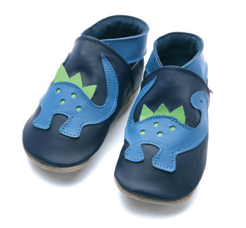 Boys soft leather baby shoes, blue Dinosaurs on Navy leather shoes