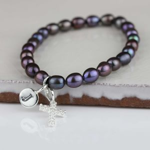 Personalised Black Pearl Silver Cross Bracelet