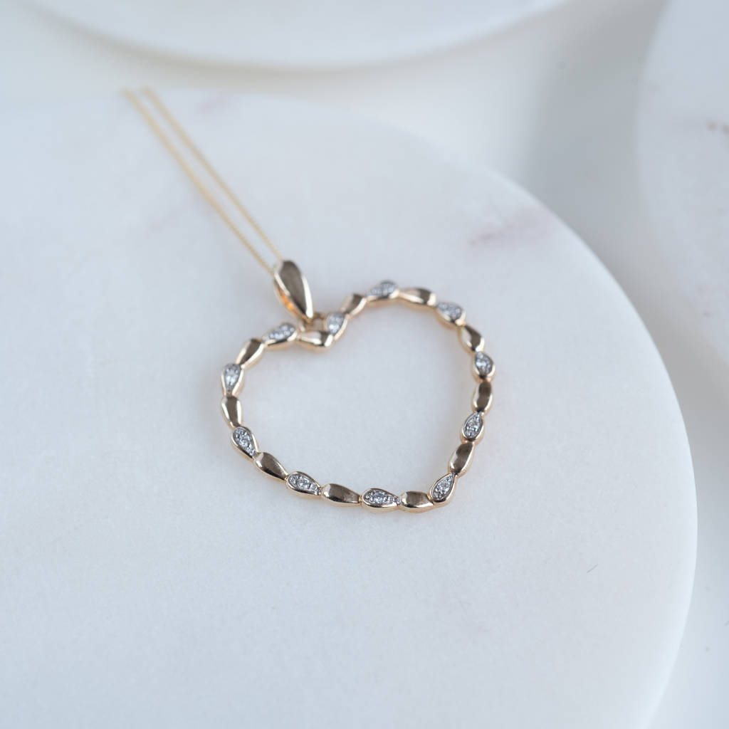 Large Rose Gold Heart Diamond Necklace*
