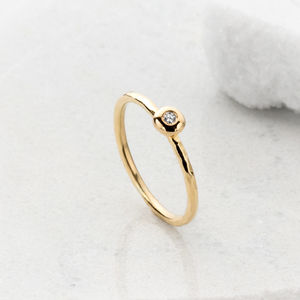 18ct Gold Stacking Bud Ring With Diamond