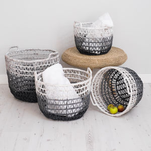 Wicker Storage Baskets Ombre Grey