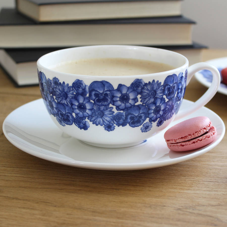 'floral' Breakfast Cup And Saucer by Lucy Green Designs