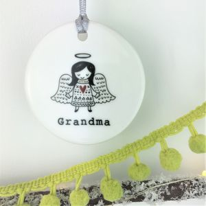 Ceramic Memorial Angel Christmas Bauble