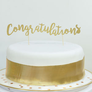 Congratulations Handmade Glitter Cake Topper - cake toppers & decorations