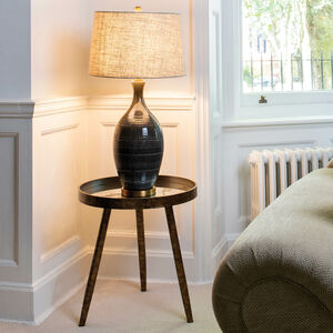 Clifton Textured Ceramic Lamp With Natural Linen Shade