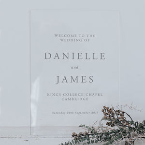 Personalised Transparent Acrylic Wedding Sign - table plans