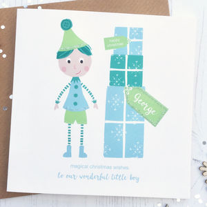 Personalised Elf Boy Christmas Card