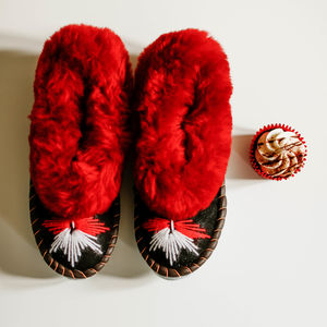 Ruby Red Embroidered Sheepskin Slippers - lingerie & nightwear