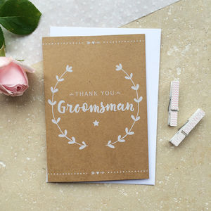 Groomsman Thank You Card - best man & usher cards
