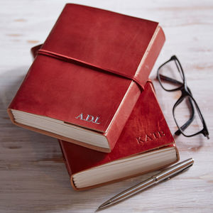 Personalised Handmade Leather Journal - 80th birthday gifts
