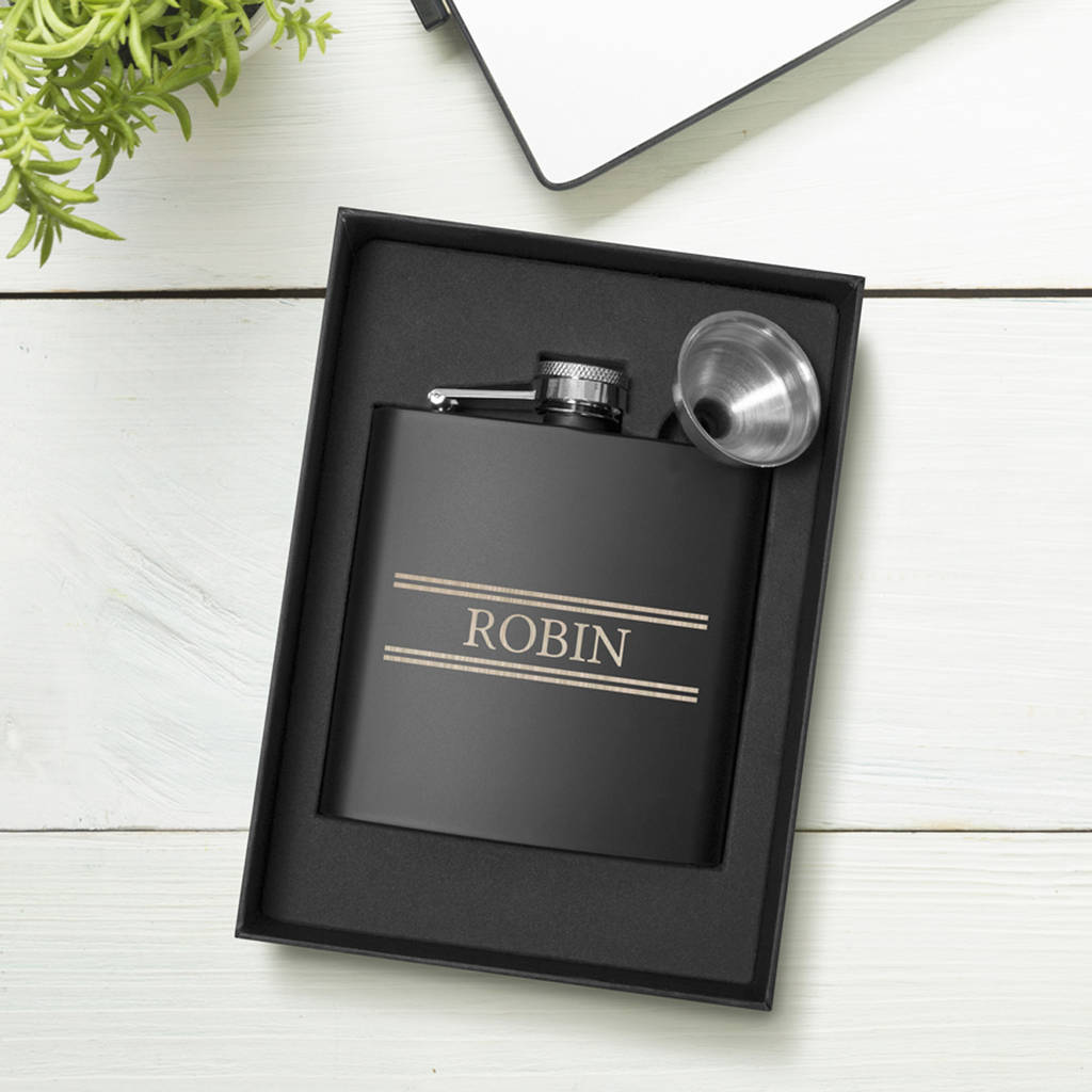 Personalised Striped Hip Flask