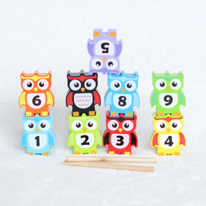 Wooden Stacking Owls Set Of Nine