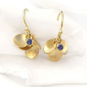 Blue Sapphire Earrings With 18ct Gold Petals