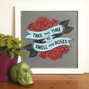 Smell The Roses Tattoo Linocut Print