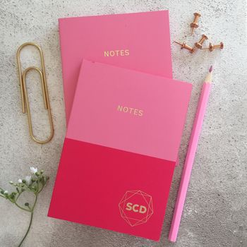 Personalised Set Of Two Pink Notebooks