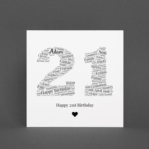 Personalised 21st Birthday Gift Print