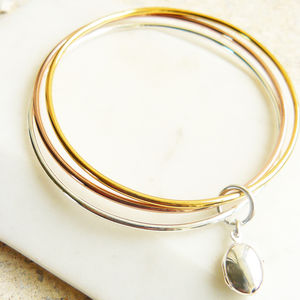 Tricolore Bangle With Locket Pendant