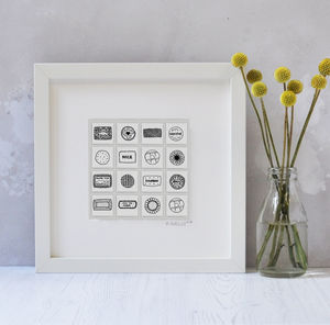 Illustrated Biscuit Tiles In Box Frame
