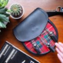 Personalised Black Leather And Red Tartan Bag
