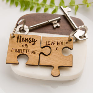 Personalised Jigsaw Oak Keyring 'You Complete Me'