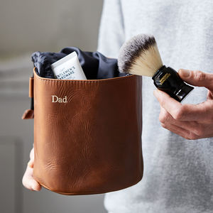 Leather Wash Bag Drawstring - gifts for fathers