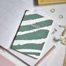 A5 Notebook Zebra Print Notes Green
