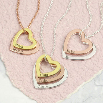 Personalised Mixed Metal Sterling Heart Necklace