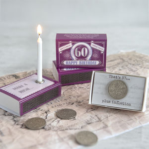 Happy 60th Birthday Greeting In A Matchbox - decorative accessories