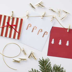 Gold Peg And Twine Card Holder Set Red And Gold - christmas card packs