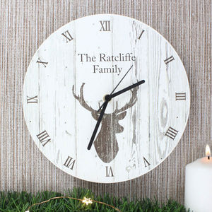 Personalised Highland Stag Wooden Clock - clocks