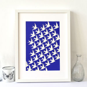 Birds In Flight Art Print On Blue, Moving Home Gift - posters & prints