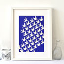 Birds In Flight Art Print On Blue, Moving Home Gift