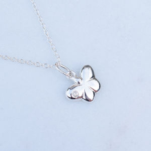 Girls Silver Butterfly Pendant With Cubic Zirconia - baby & child sale