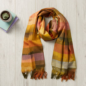 Golden Ikat Short Mexican Scarf