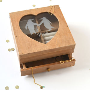 Personalised Wooden Penguin Jewellery Box