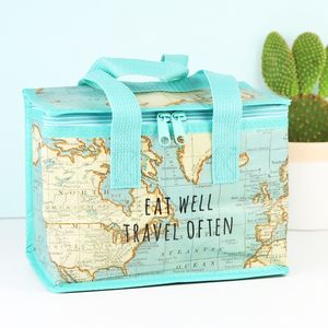 World Map Print Lunch Bag