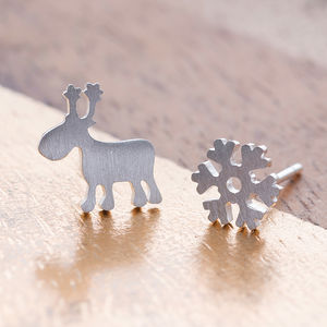 Sterling Silver Snowflake And Reindeer Ear Studs - stocking fillers