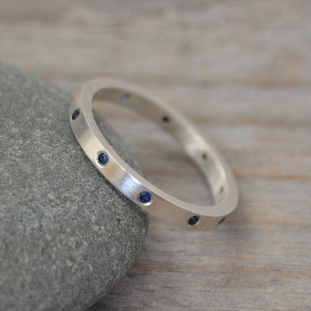 curved design ss ring inspired ken unique blue haley band products split wave oval dana nature halo rings sapphire engagement gray