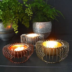Three Wire Tealight Holders In Gold Copper And Steel - home accessories
