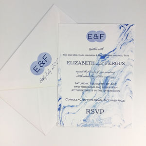 Blue Marble Typographic Wedding Invitations - invitations
