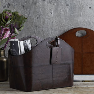Curved Leather Storage Basket - magazine racks
