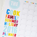 Personalised Summer School Holiday Family Planner