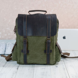 Side Pockets Canvas And Leather Backpack Gift For Him - mens