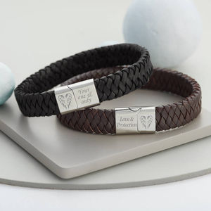 Men's Angel Wing Personalised Leather Bracelet