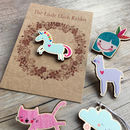 Gifts For Cat Lovers Wooden Pin: Cat Jewellery