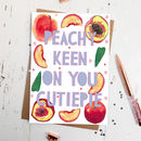 Funny 'Peachy Keen' Cute Valentines Card
