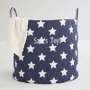 Personalised Navy Star Storage Bag - children's room accessories
